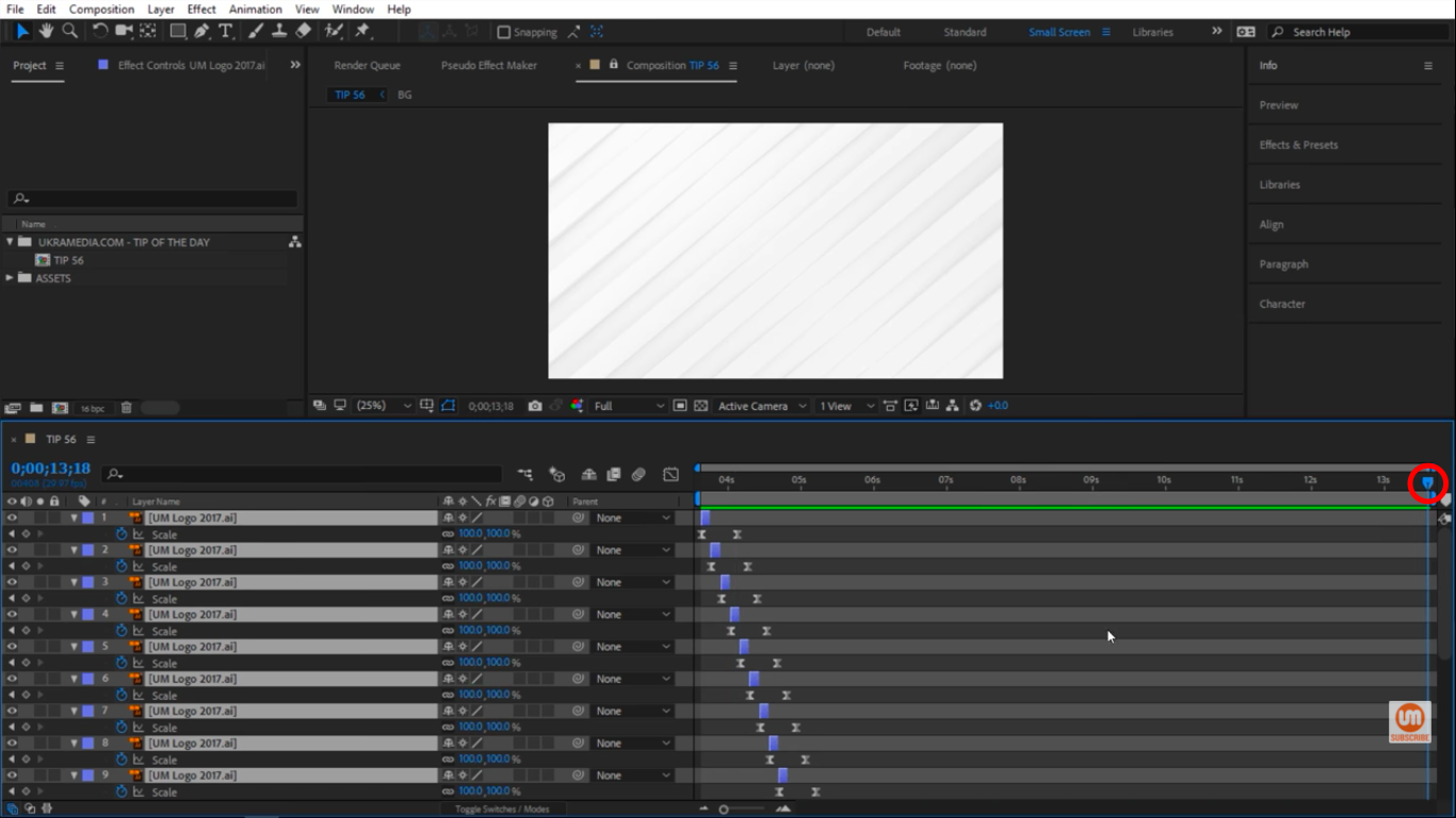 Move time indicator to the end of the composition in After Effects