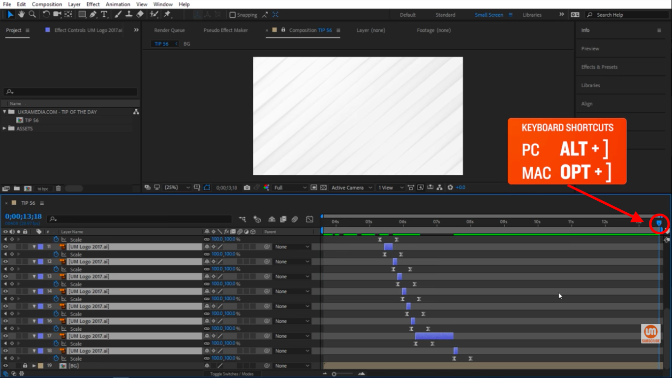 Move time indicator to the end of this composition in After Effects
