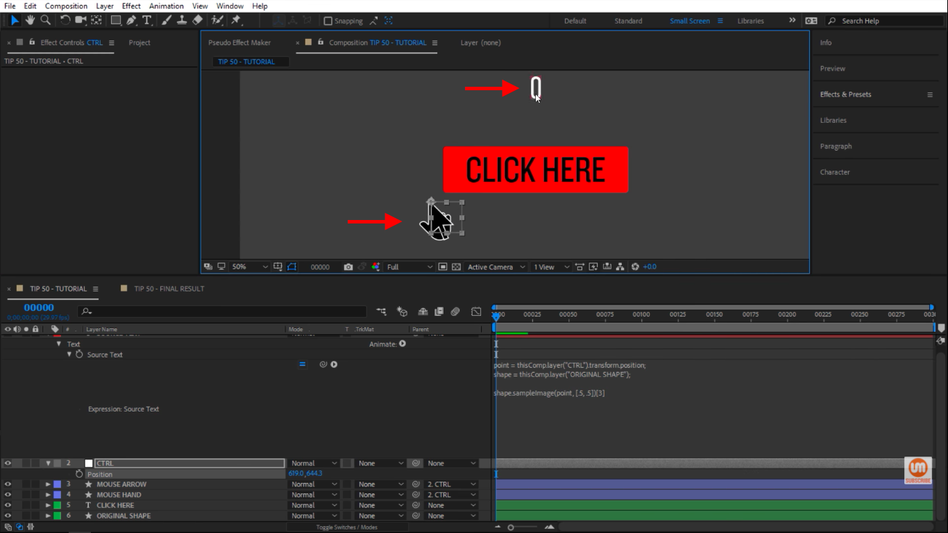 Moving the mouse away in After Effects