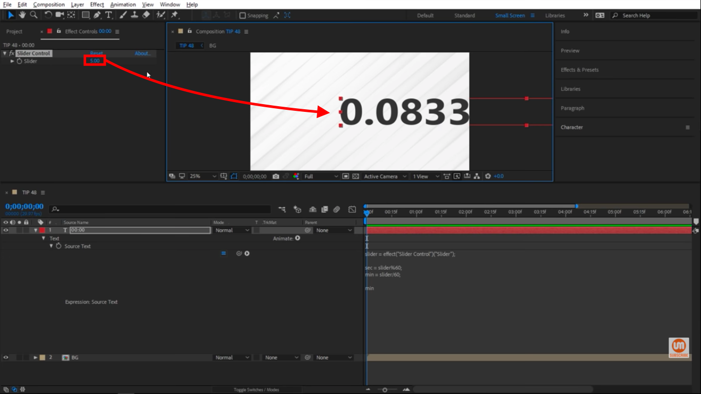 Number with a lot of decimals in After Effects