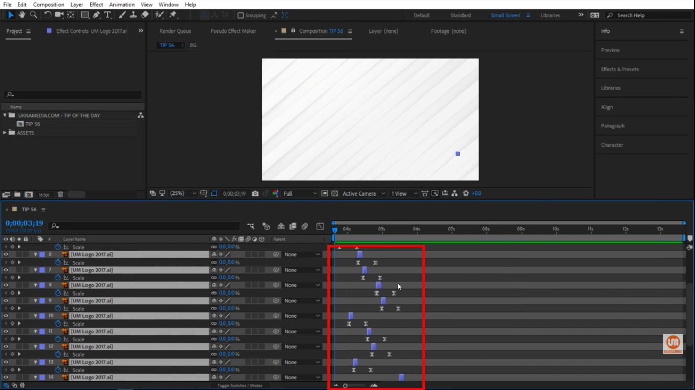 Off set based on selection in After Effects