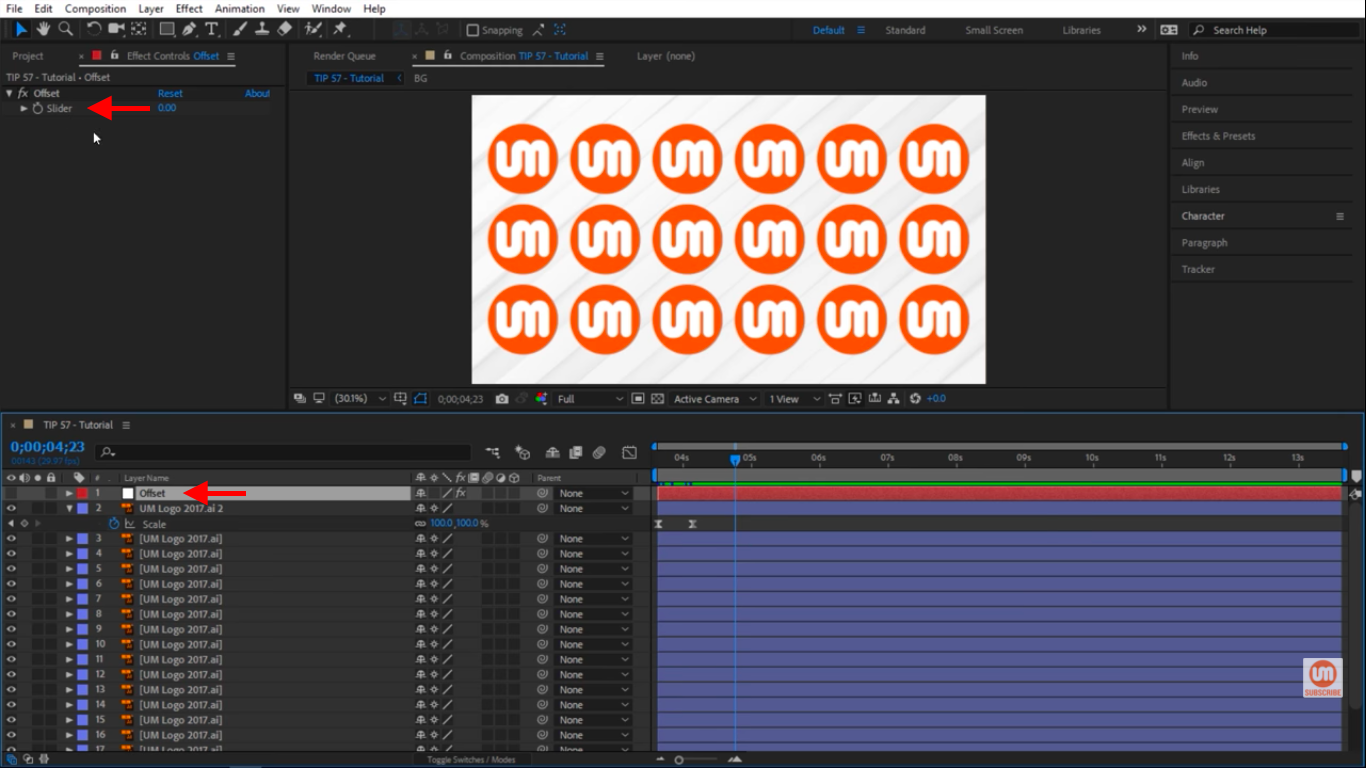 Offset slider null in After Effects