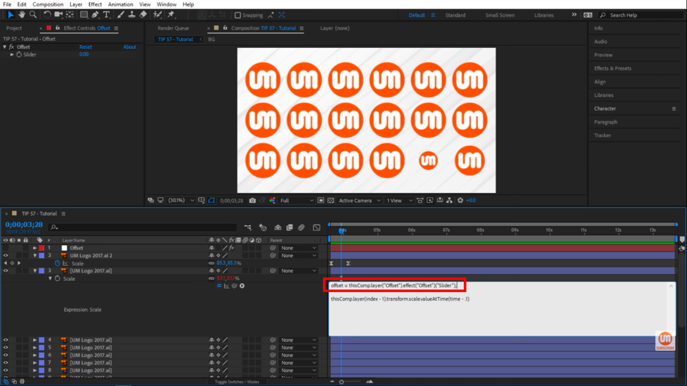 Offset variable in After Effects pickwhip