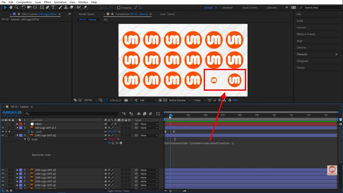 Offsetting layers in After Effects