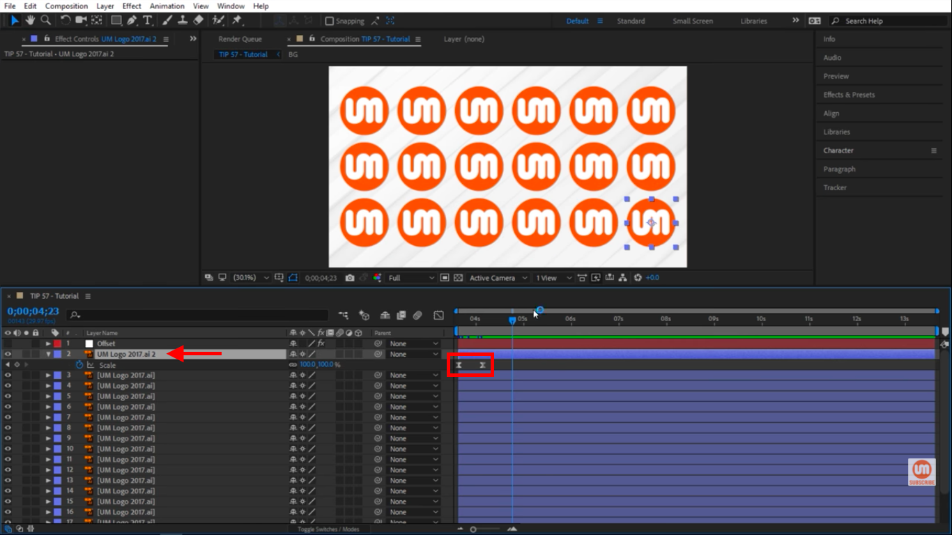 One logo animating in After Effects