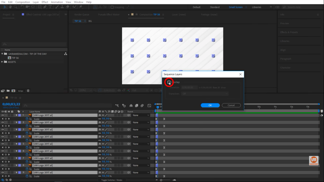 Overlap option in After Effects
