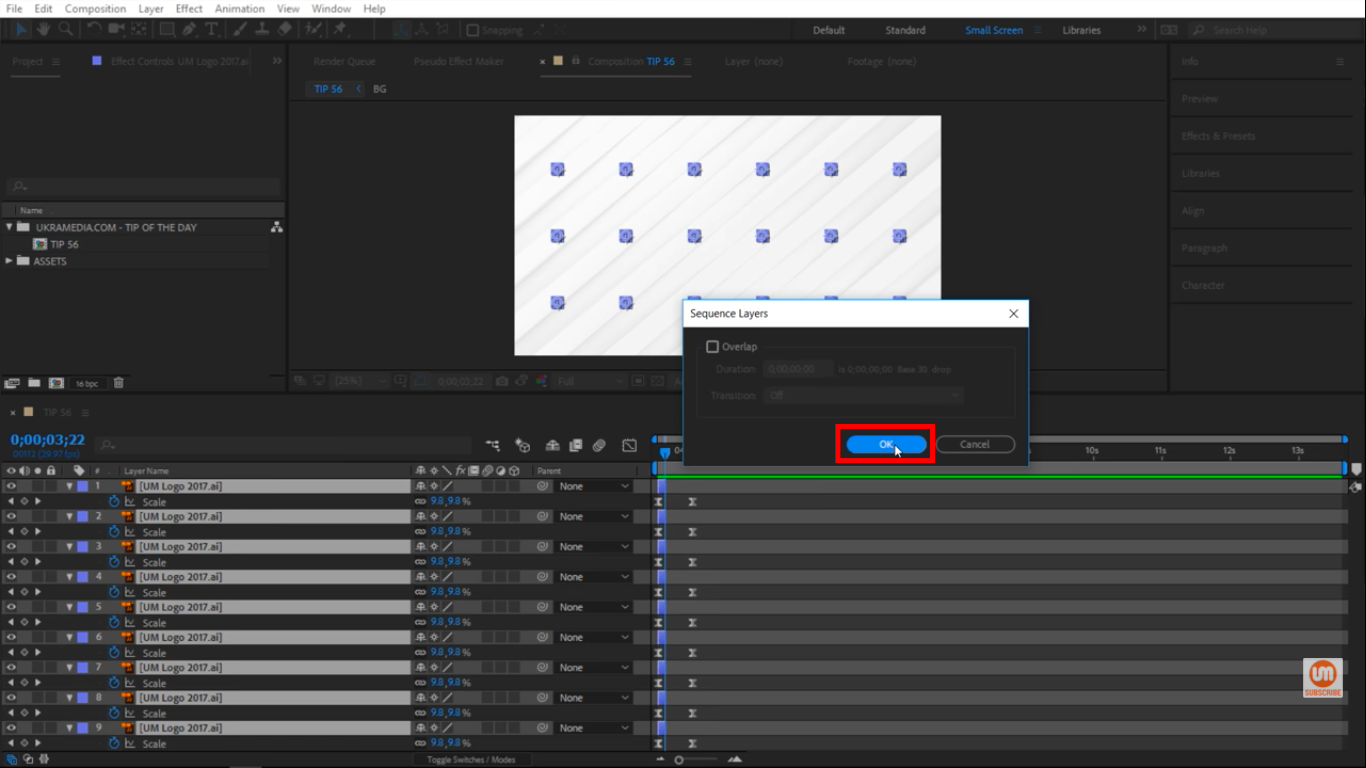 Overlap option is unchecked in After Effects