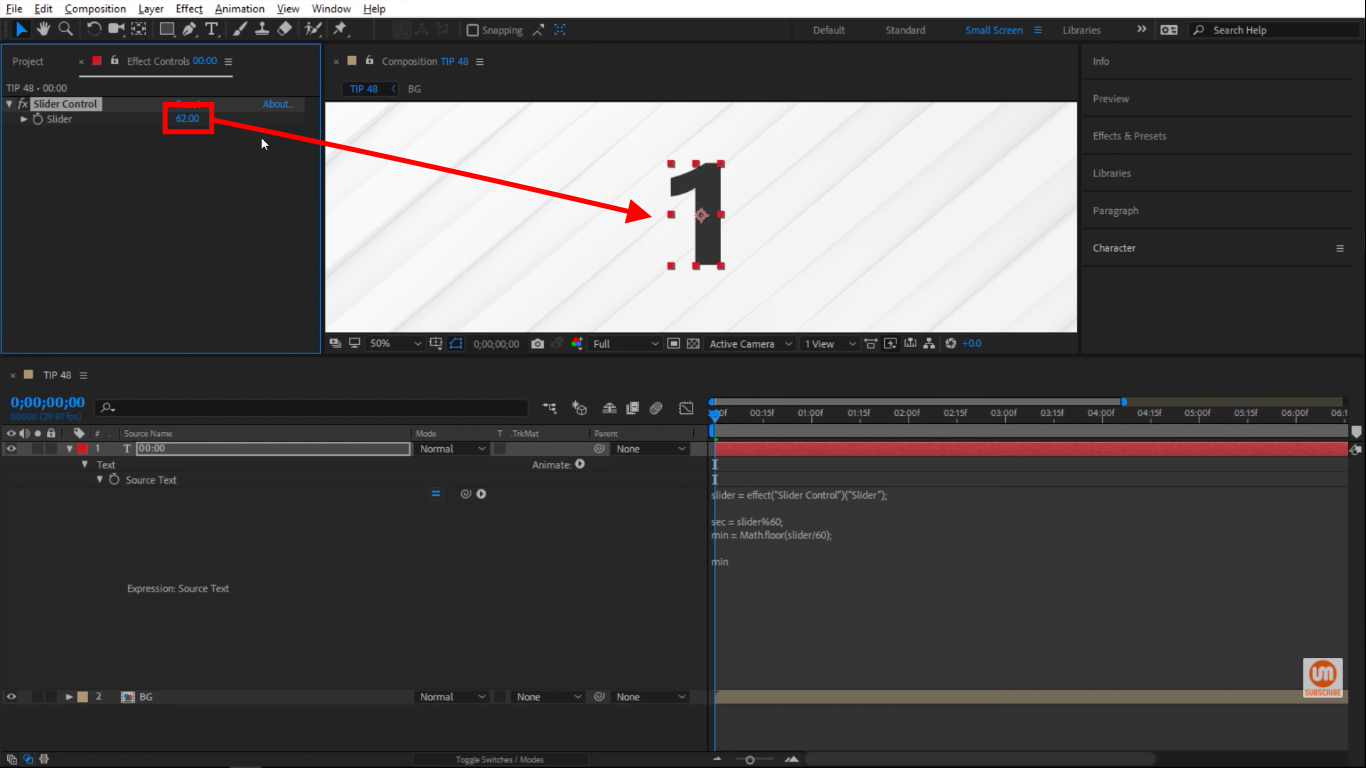 Past 60 in After Effects Slider