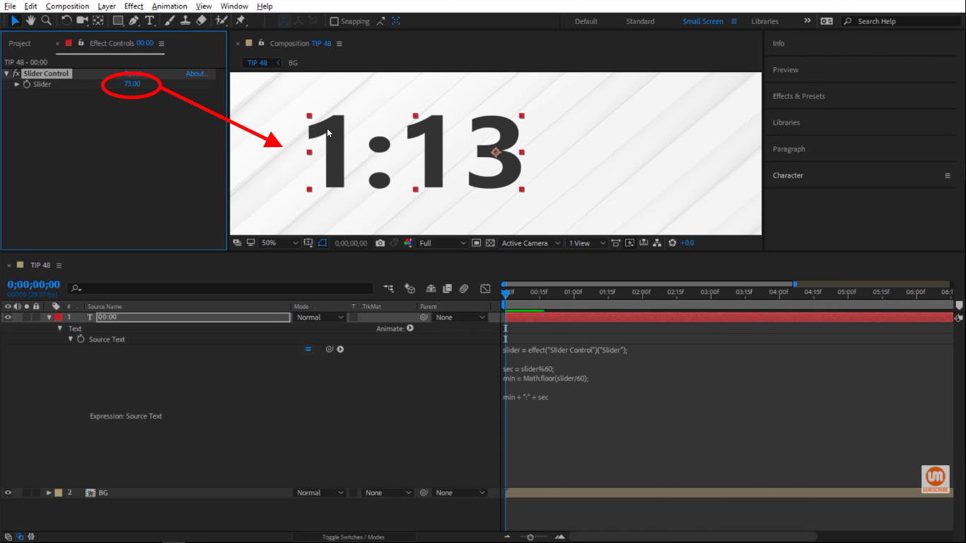Past 60 seconds in After Effects Slider