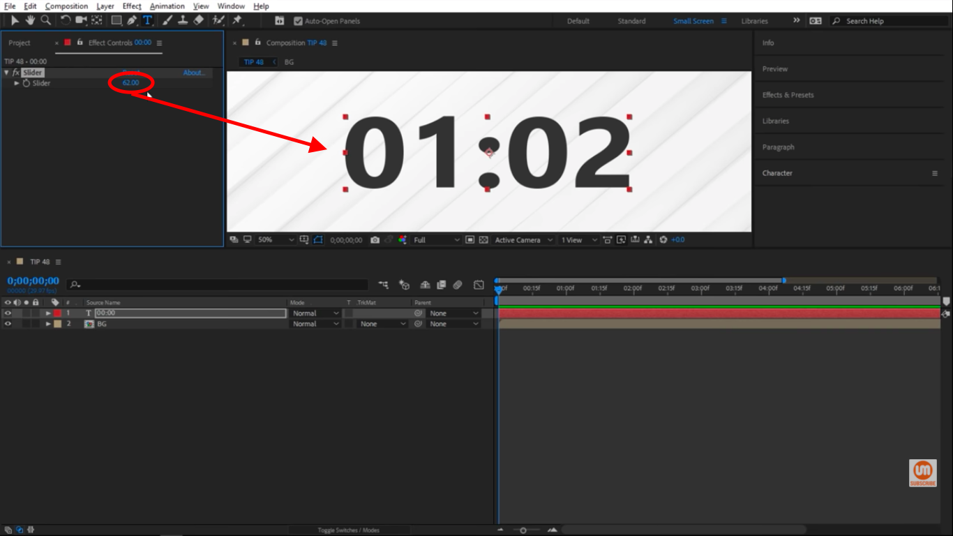 Past 60 seconds in After Effects custom clock