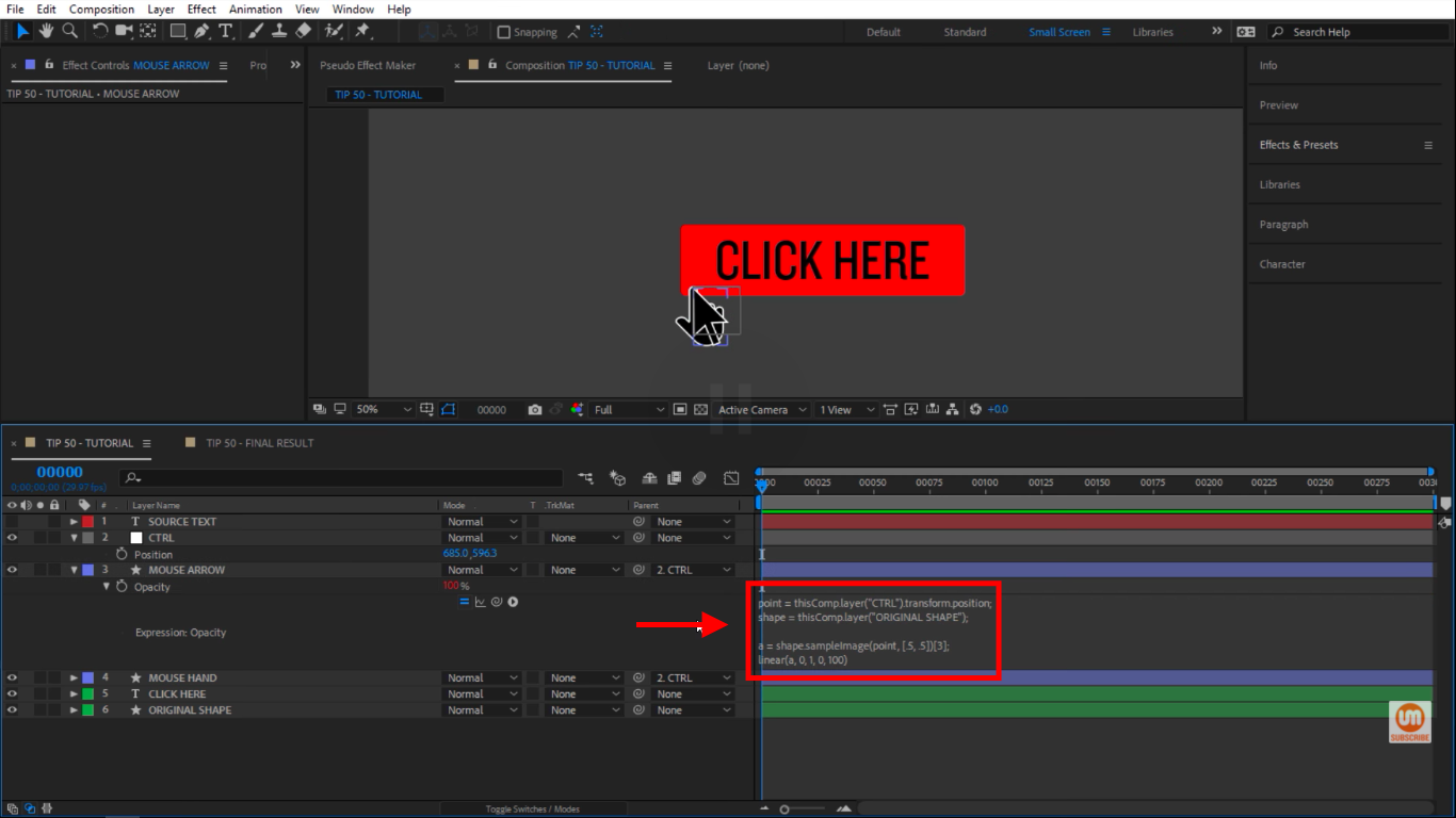 Paste the expression in After Effects