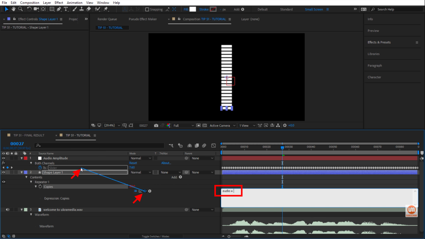 Pick whip to slider in After Effects