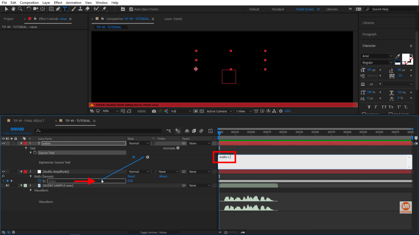 Pickwhip to Audio Amplitude in After Effects