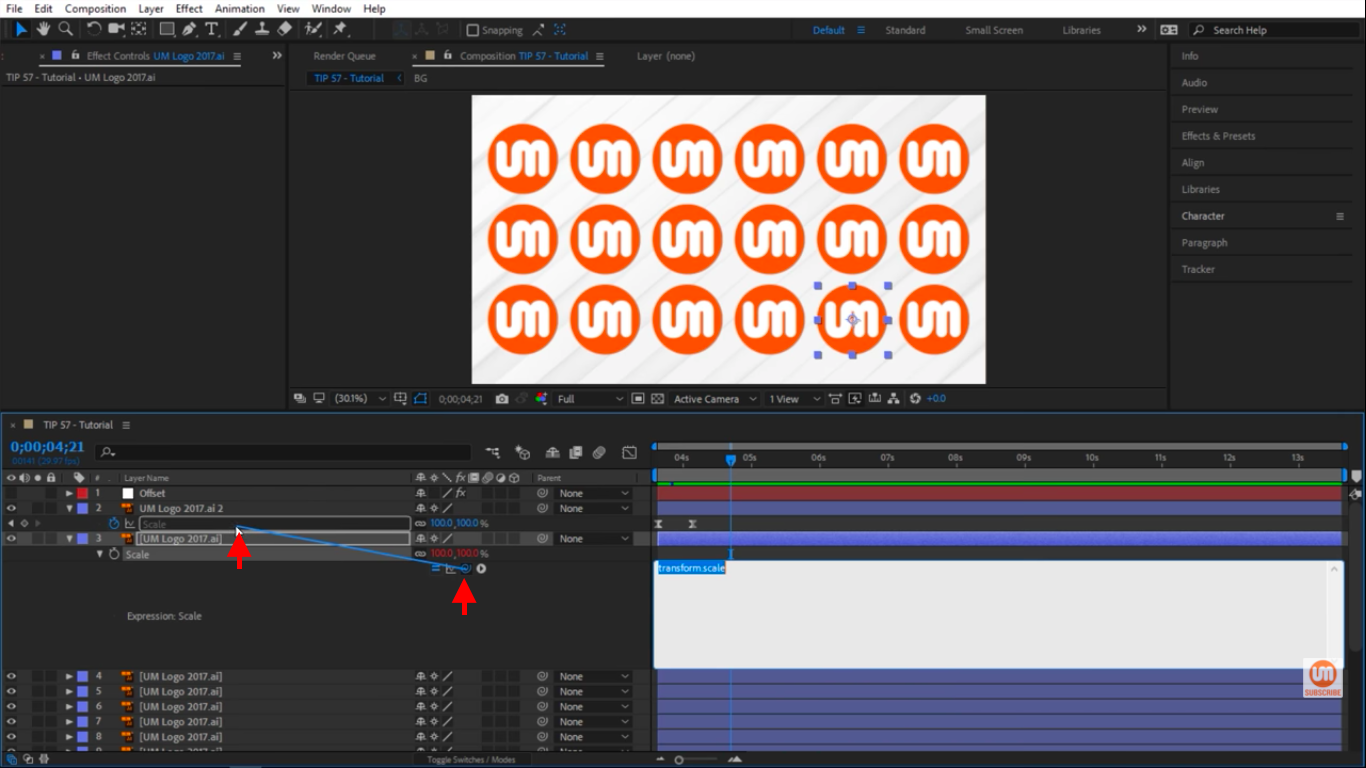 Pickwhip to scale property in After Effects 1