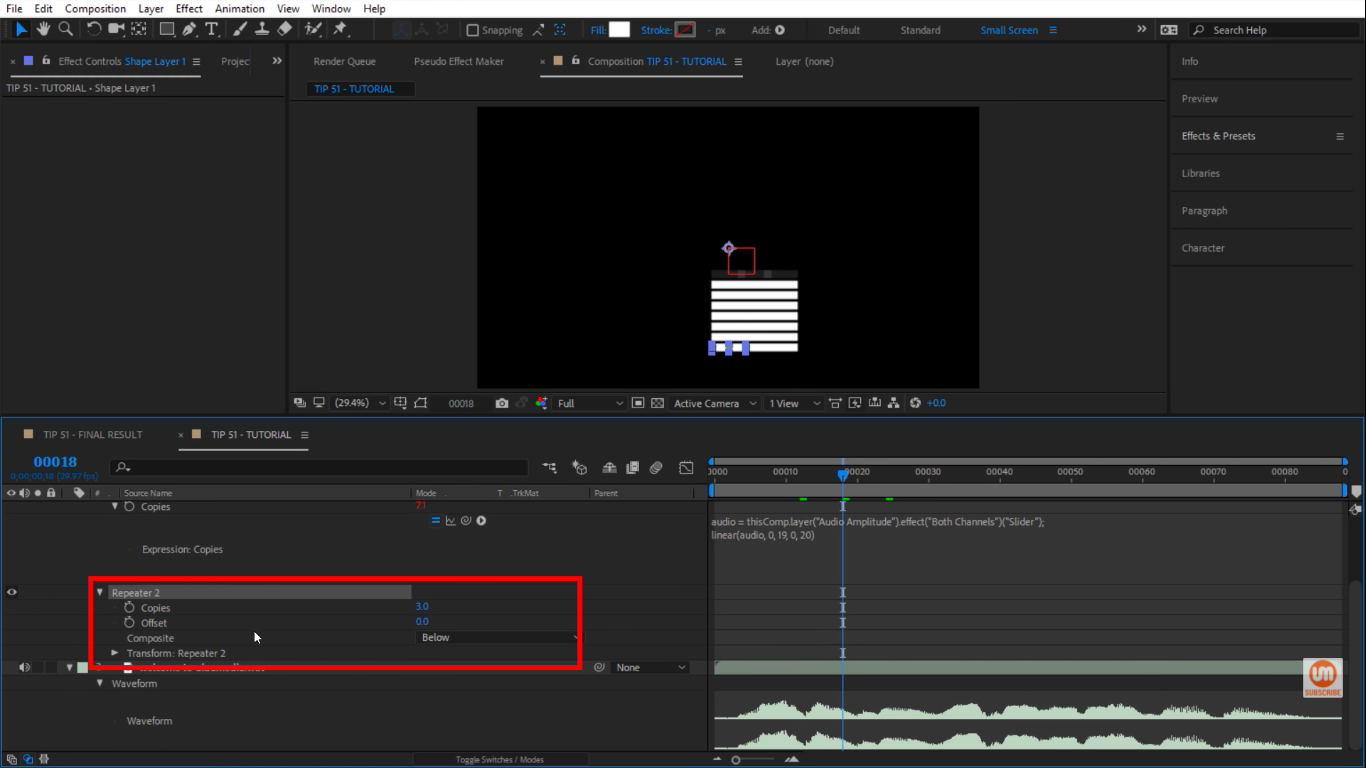 Play with different repeater properties in After Effects