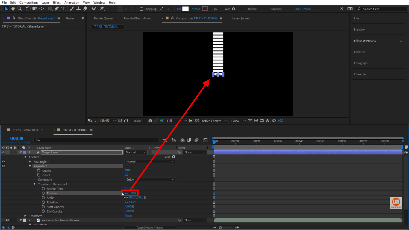 Position Change in Repeater in After Effects