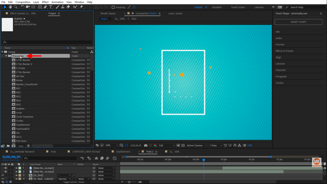 Precomps folder in After Effects