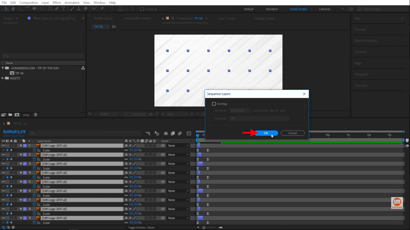 Press Okay in Adobe After Effects