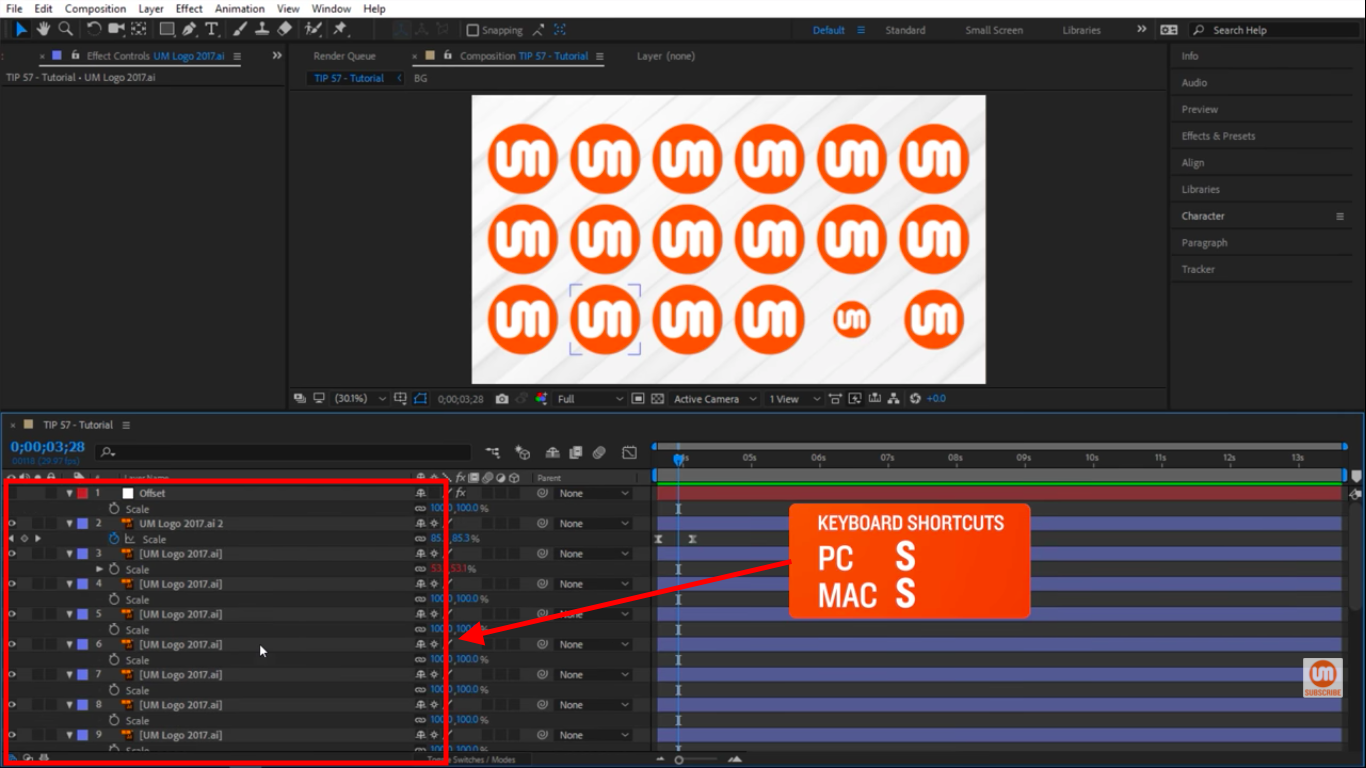 Press S to see scale properties in After Effects