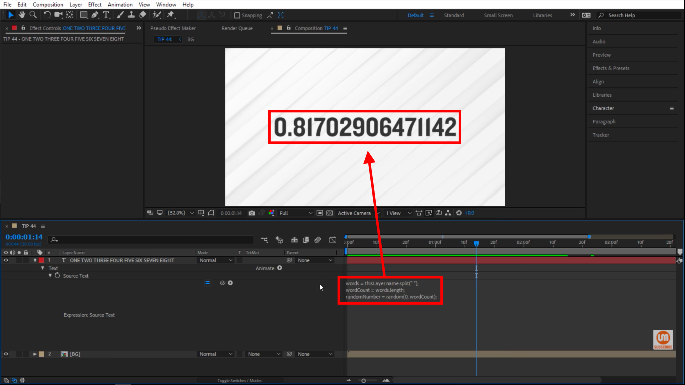 Random numbe between 0 and 8 in After Effects Expressions