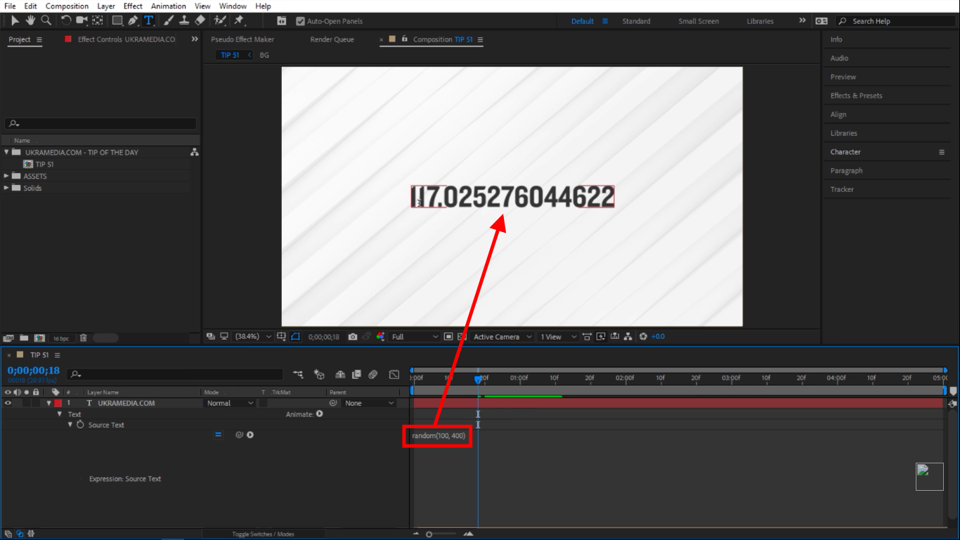 Random number between 100 and 400 in After Effects