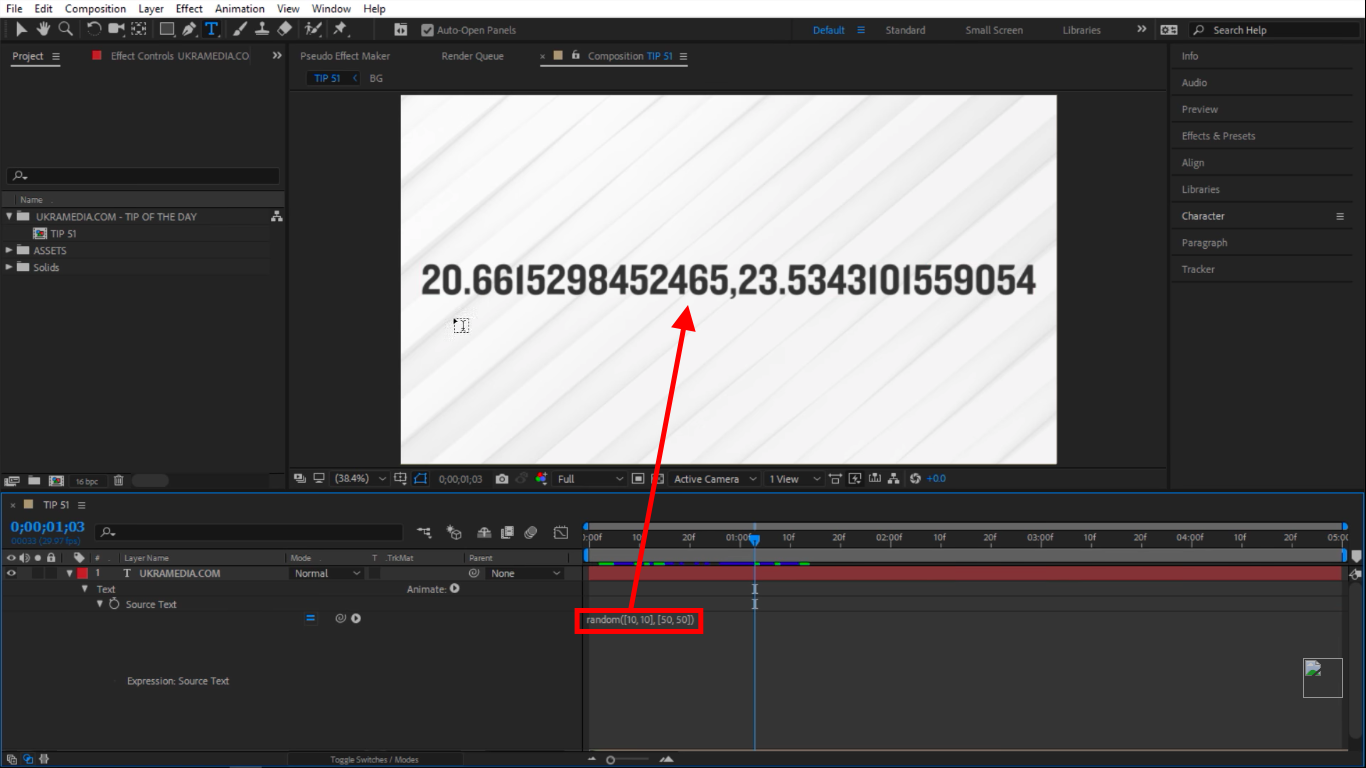 Random numbers square brackets in After Effects