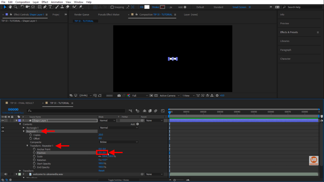 Repeater position in After Effects