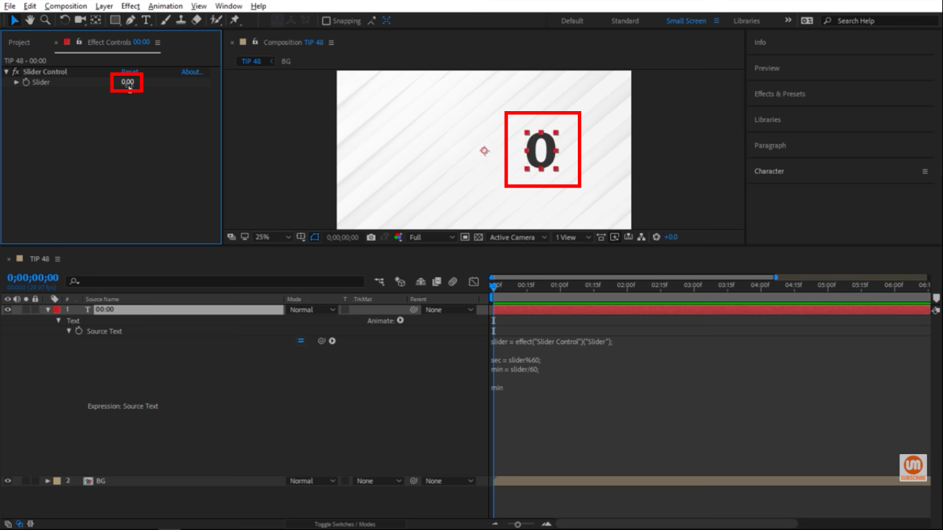 Reset the slider to 0 in After Effects Effects Control Panel