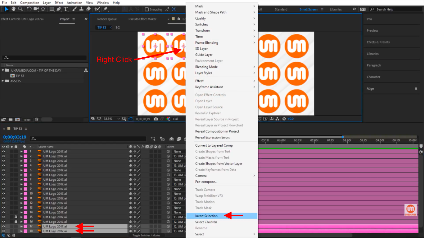 Righ click on selected Layers in After Effects