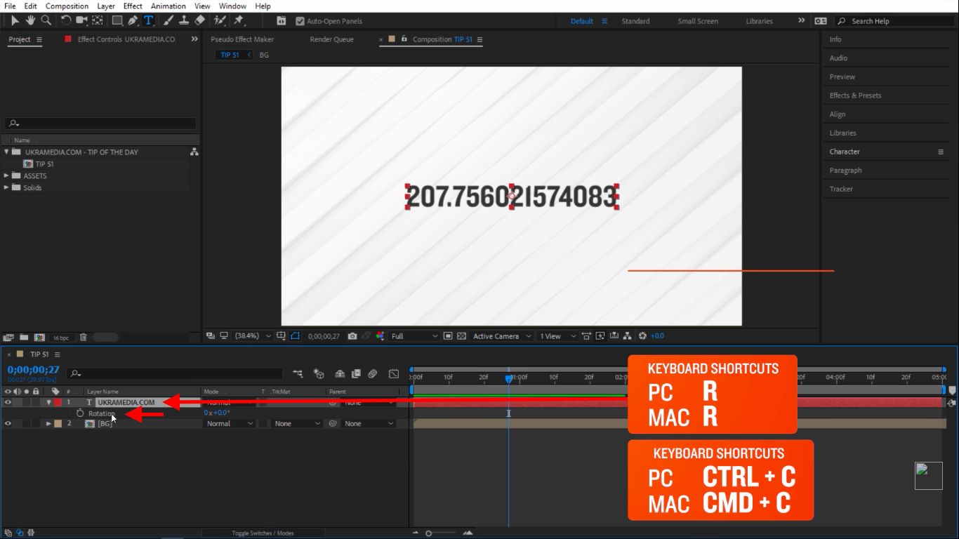 Rotation in After Effects