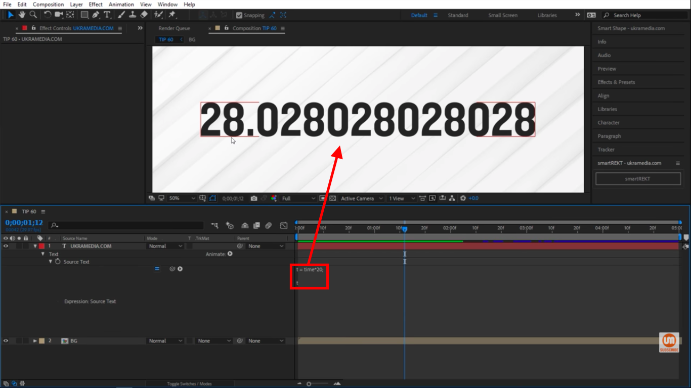 Rounded upwards in After Effects