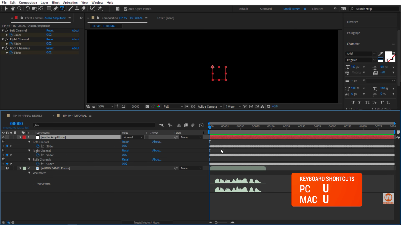 See all keyframes keyboard shortcut in After Effects
