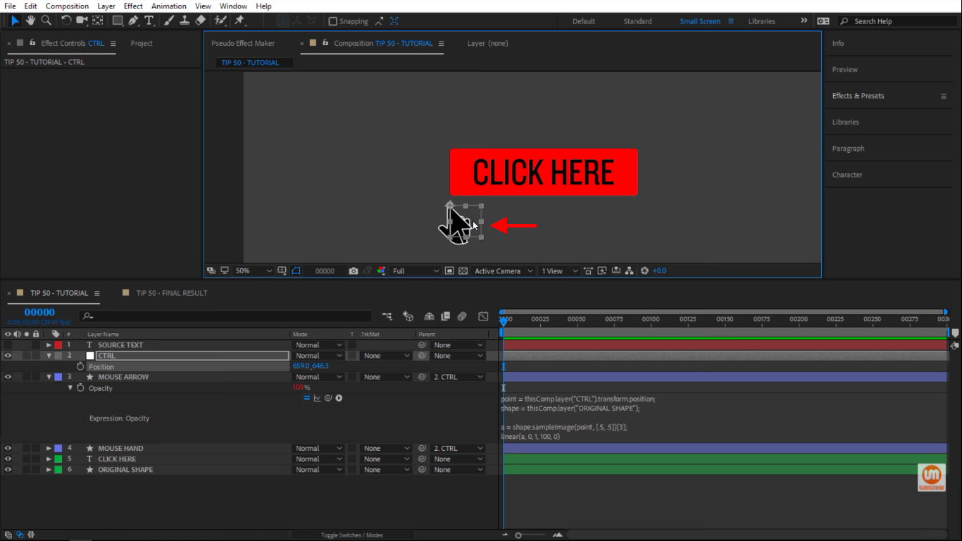 See arrow in After Effects