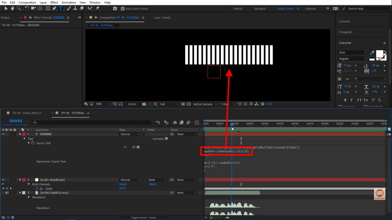 Seeing more bars in After Effects audiometer