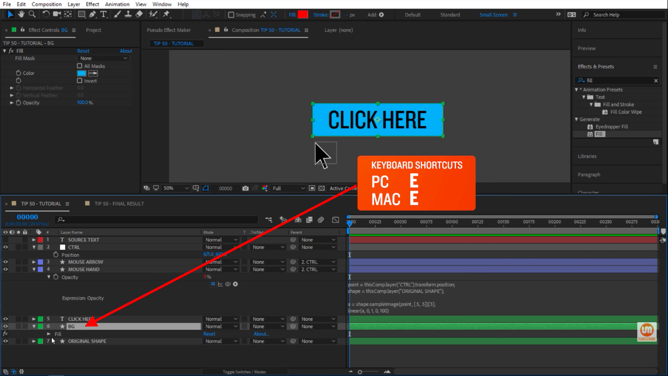 Select BG layer in After Effects