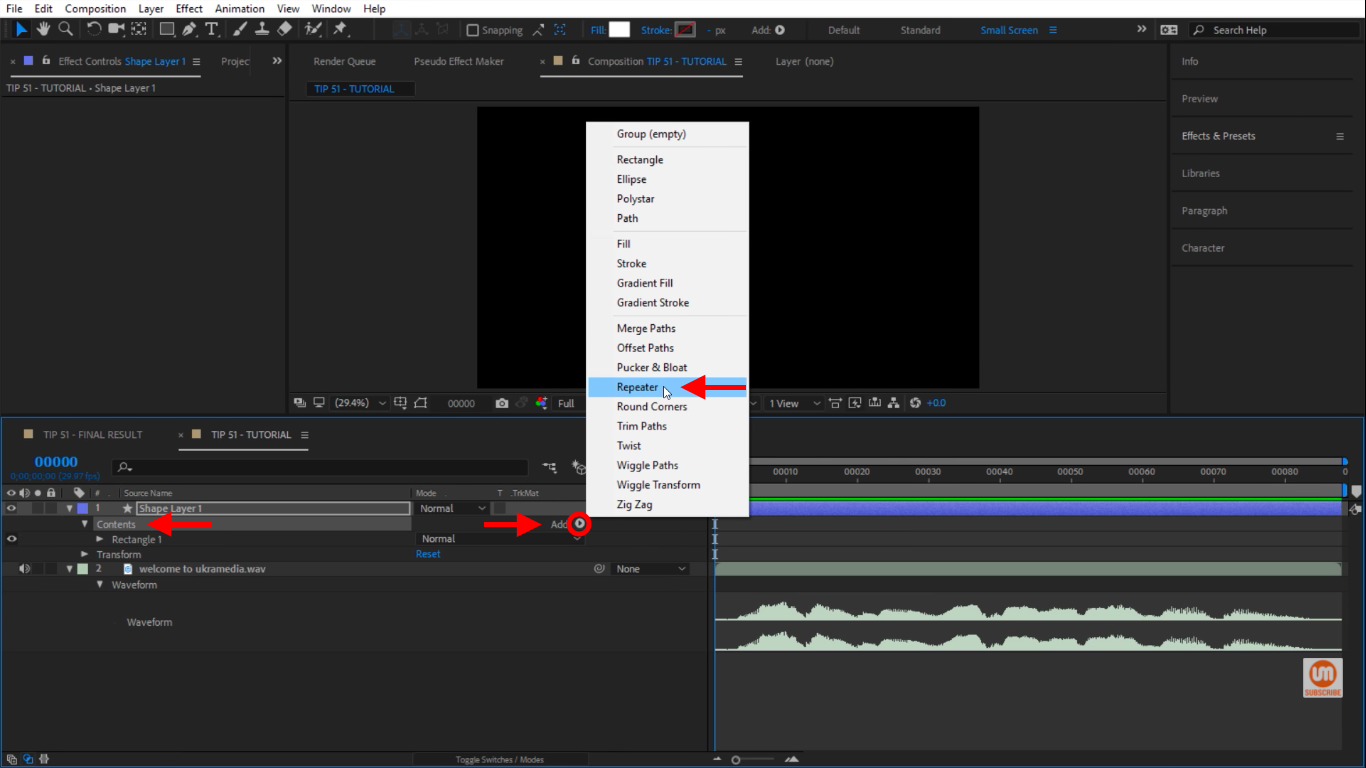 Select Repeater in After Effects
