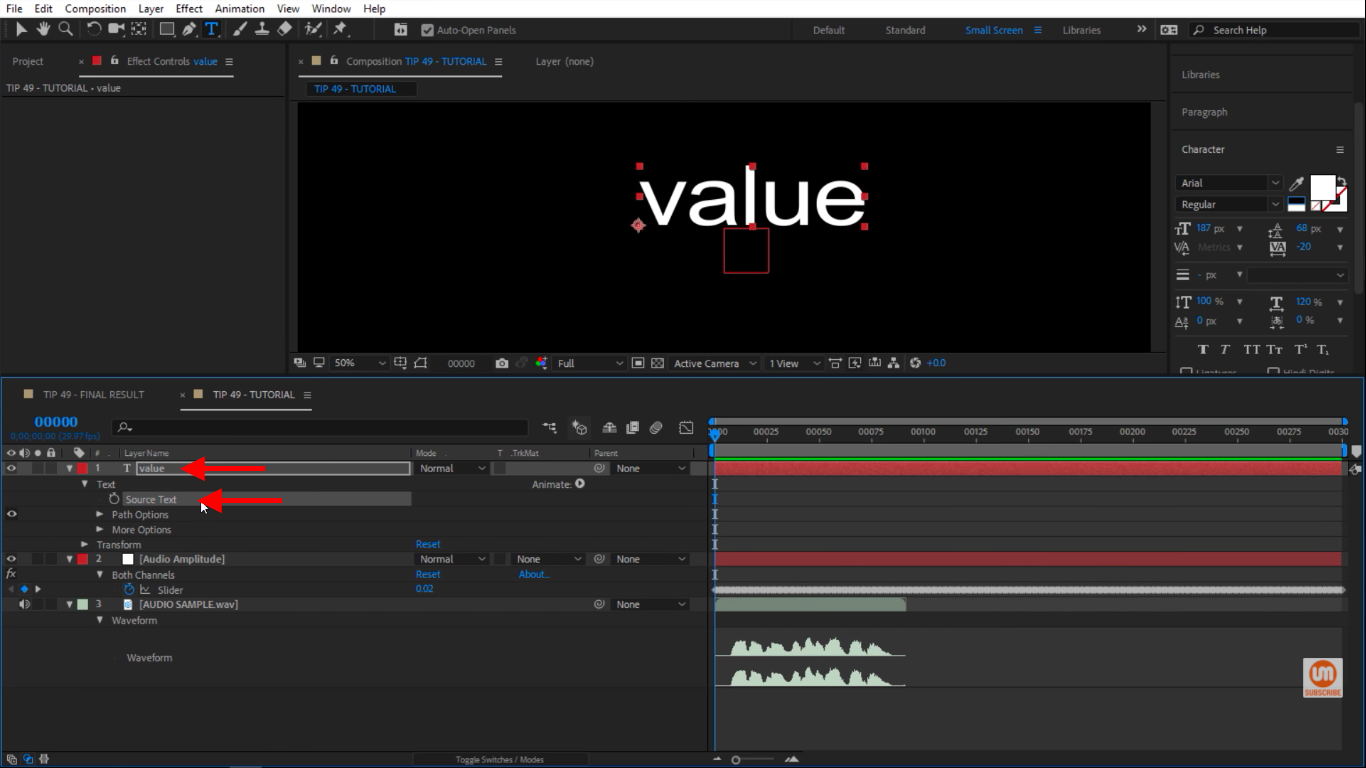 Select Source Text in After Effects
