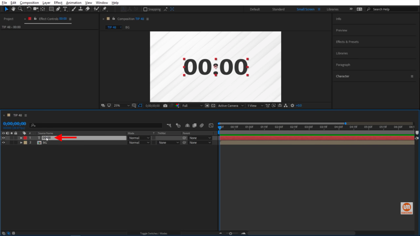 Select Text in Timeline After Effects