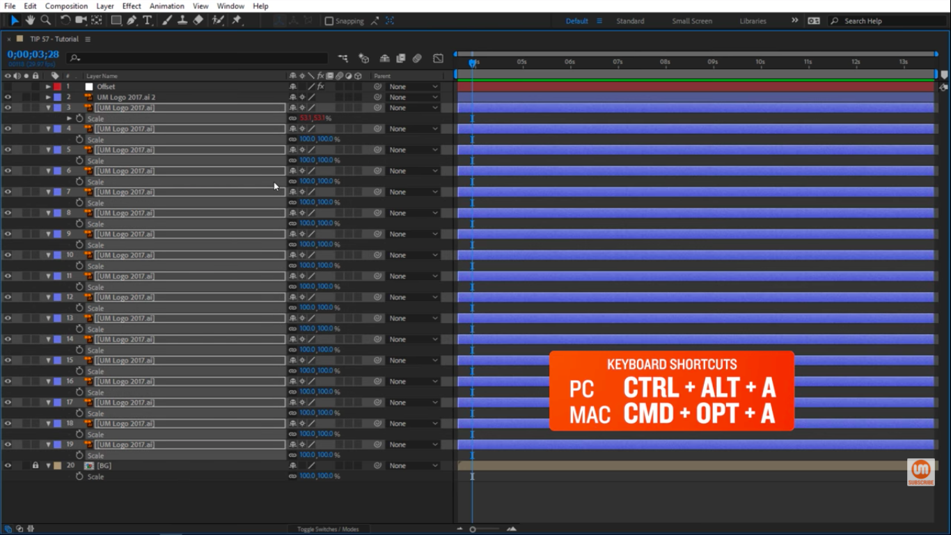 Select all layers in After Effects with a keyboard shortcut
