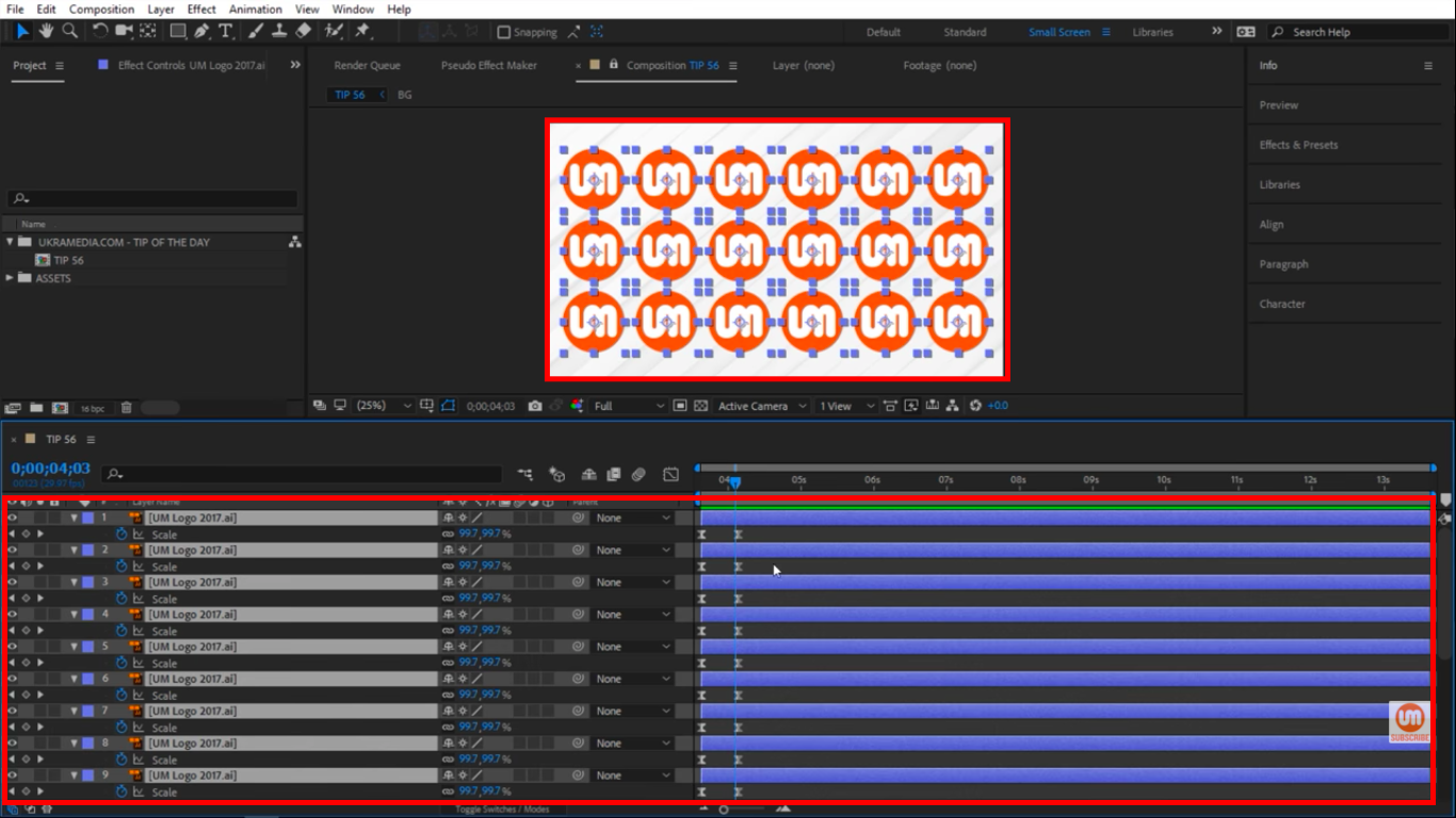 Select all layers in After Effects