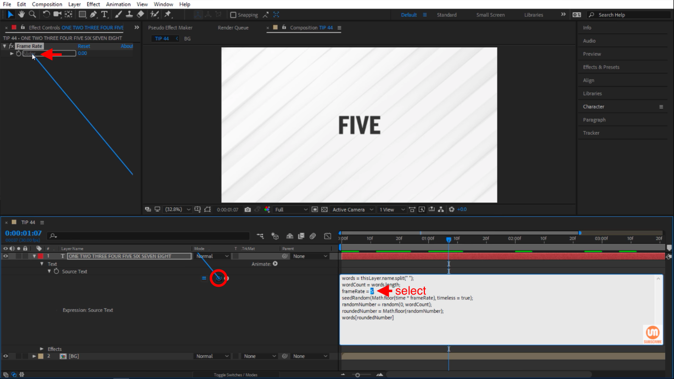 Select and Pick Whip in After Effects