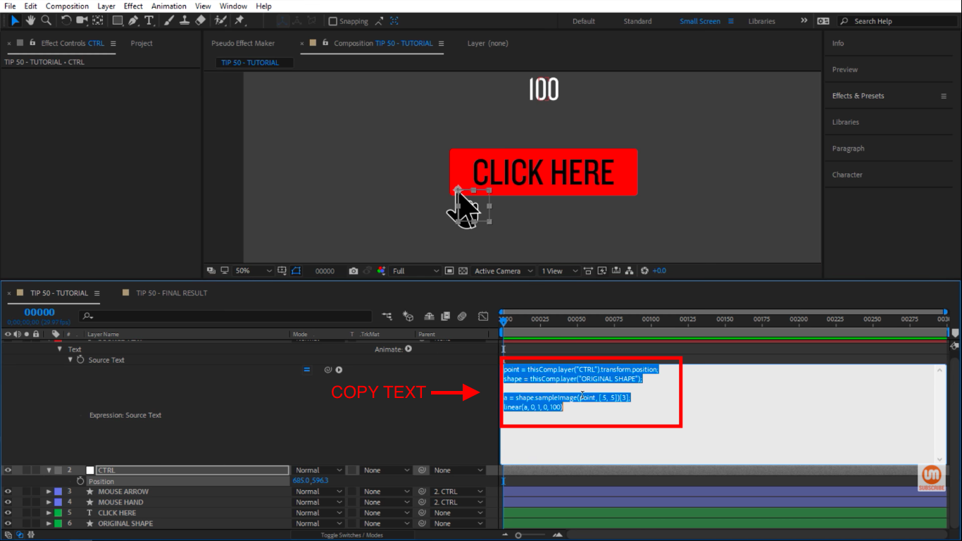 Select and copy text in After Effects