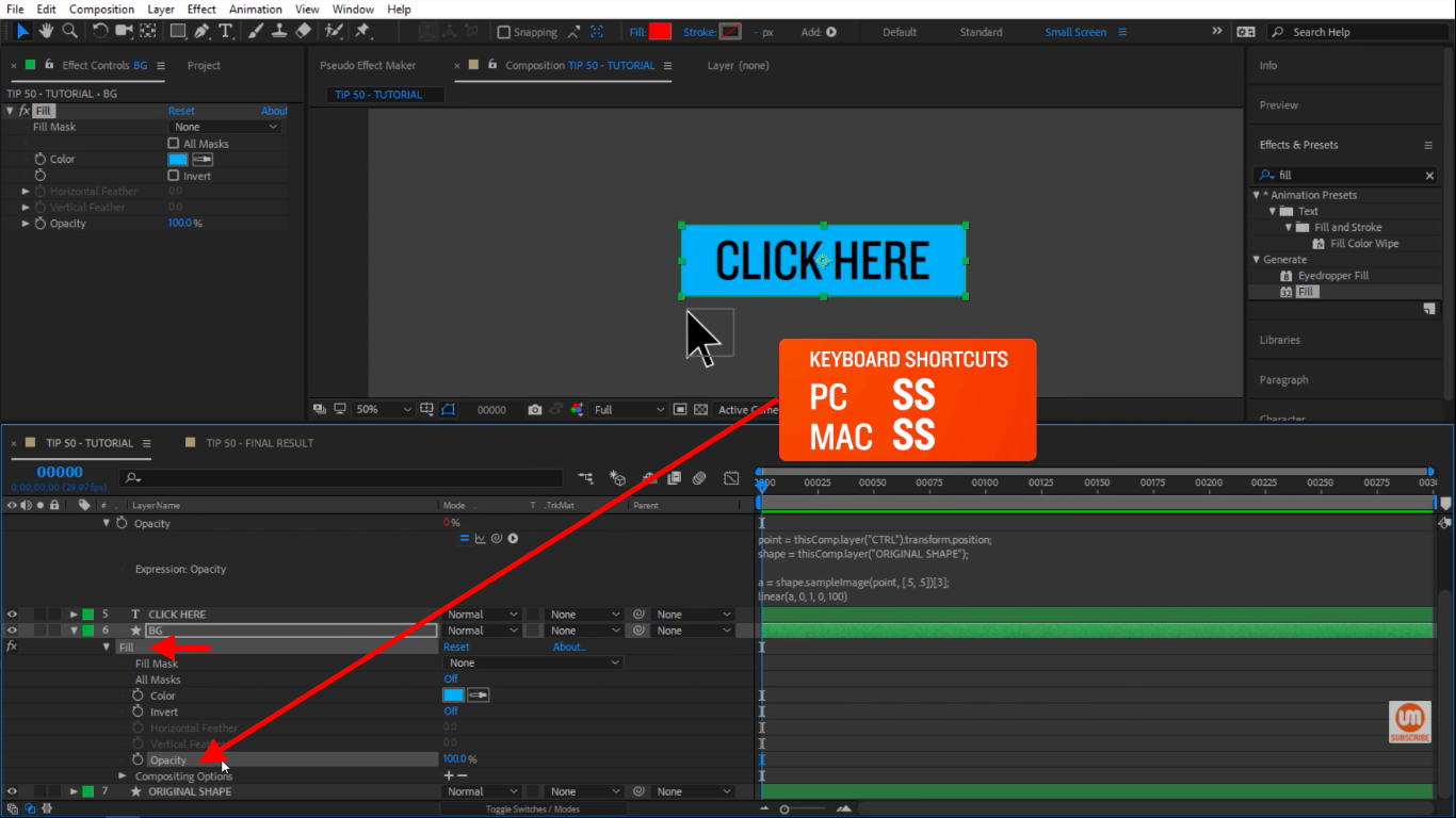 Select opacity and solo it in After Effects