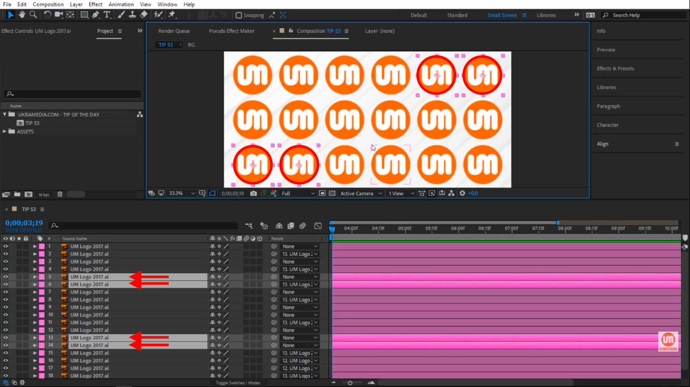 Selected Layers in After Effects
