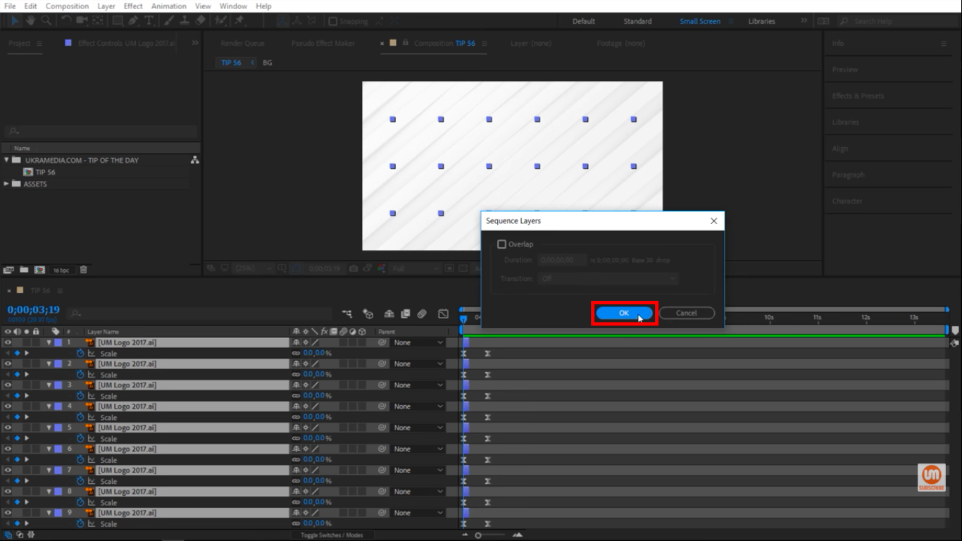 Sequence Layer press OK in After Effects