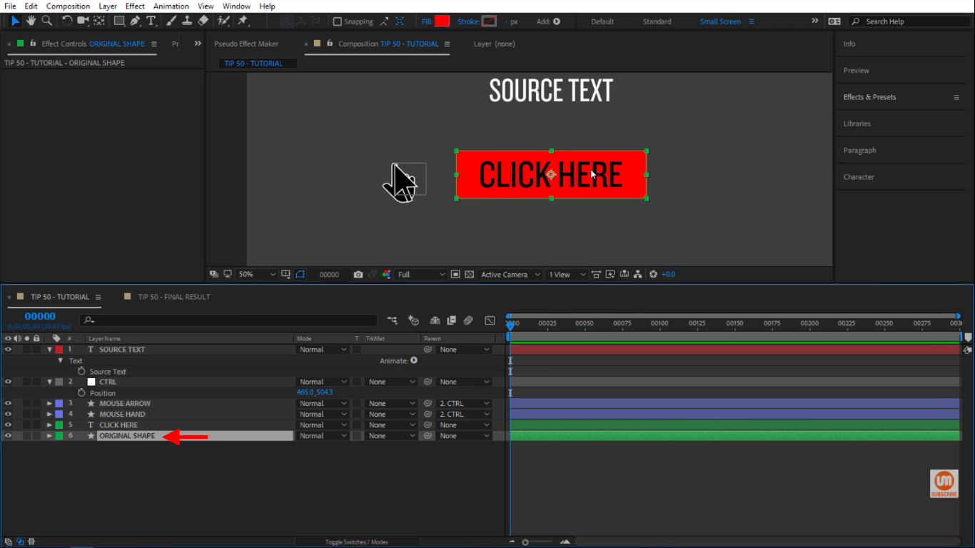 Shape of our button in After Effects