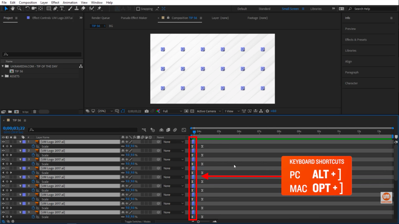 Shorten all layers in After Effects