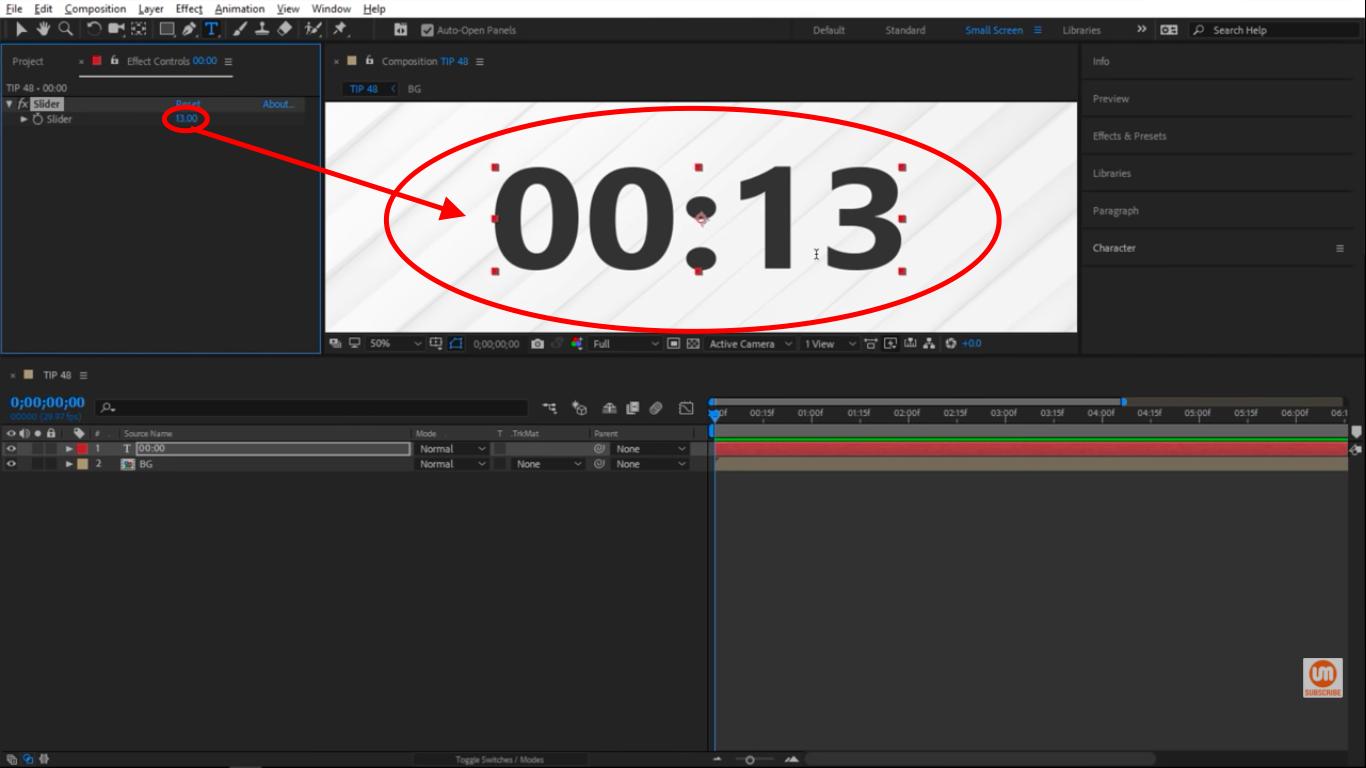 Slider adjustable clock in Adobe After Effects