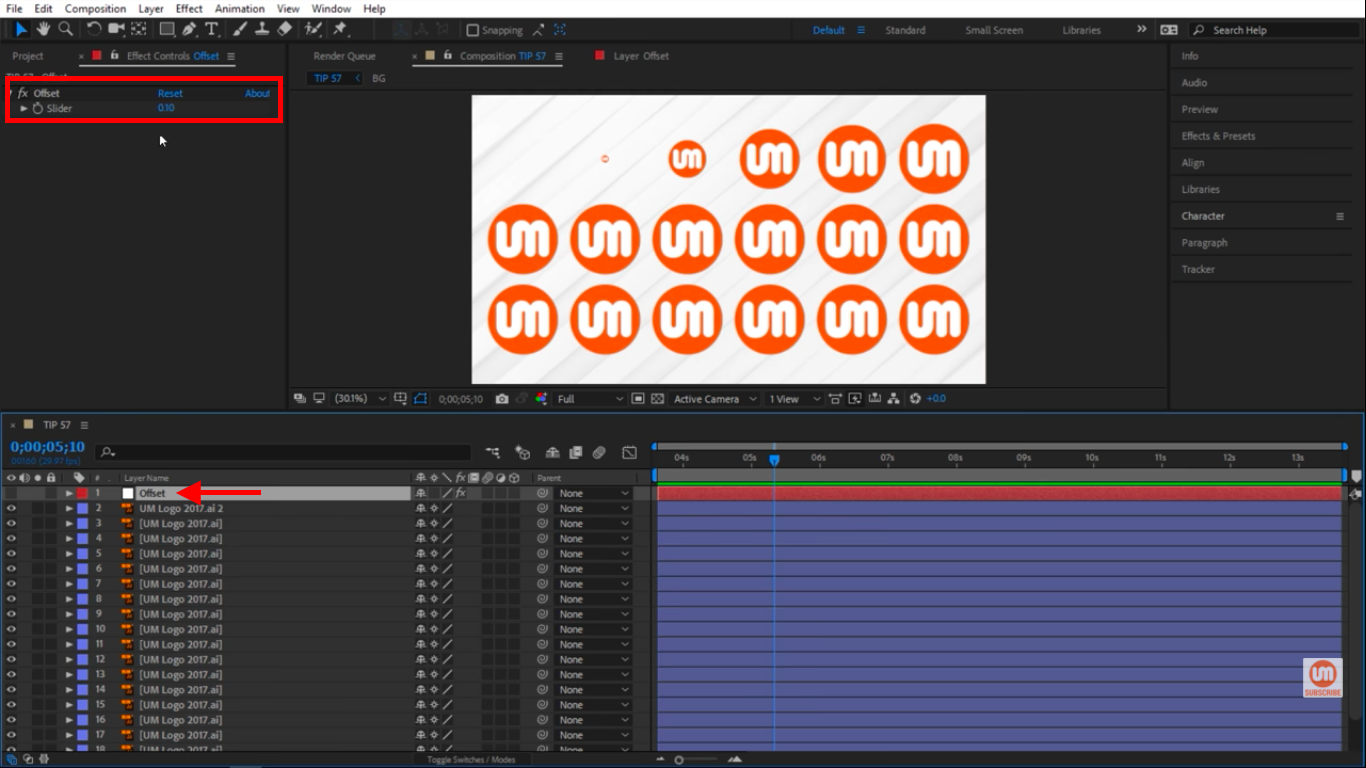 Slider inside of null layer in After Effects