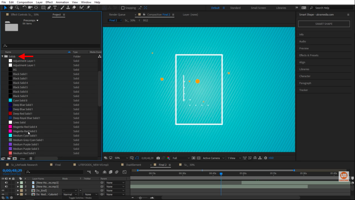 Solids folder in After Effects
